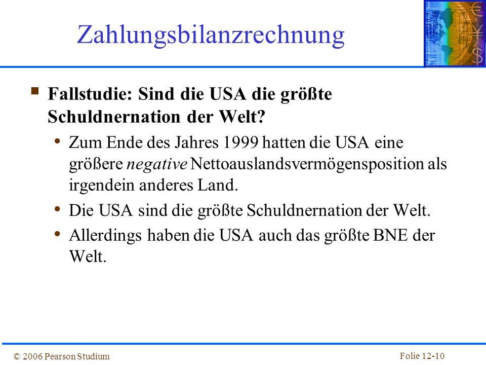 Folie 12-9 © 2006 Pearson Studium Abbildung 12.2: Leistungsbilanz und Auslandsvermögen der USA, 1977-2003 Volkswirtschaftliche Gesamtrechnung für eine