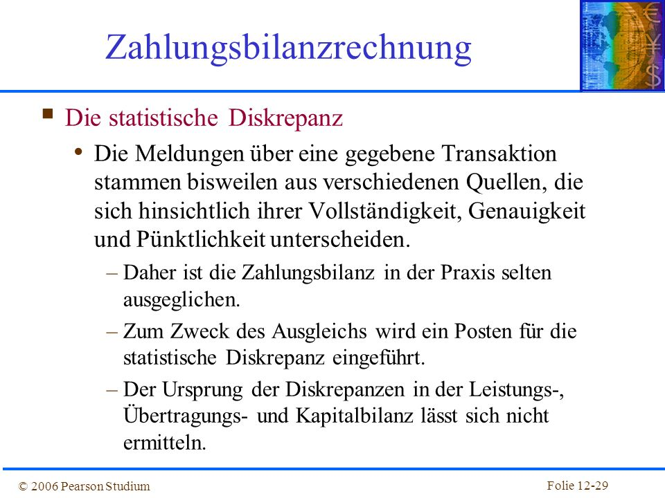 Folie 12-28 © 2006 Pearson Studium Die Zahlungsbilanzidentität Da jede internationale Transaktion automatisch Buchung und Gegenbuchung in der Zahlungs
