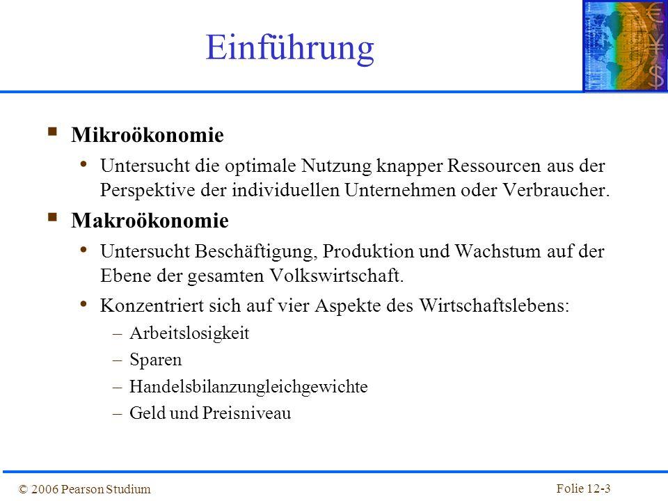 Folie 12-2 © 2006 Pearson Studium 12. Volkswirtschaftliche Gesamtrechnung und Zahlungsbilanz Einführung Volkswirtschaftliche Gesamtrechnung Volkswirts