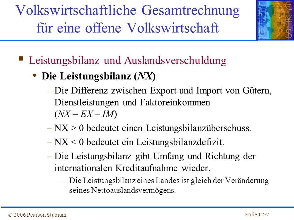 Folie 12-6 © 2006 Pearson Studium Verwendung des BIP in Deutschland Komponenten des BIP 2007: Mrd. Euro% am BIP Privater KonsumC137457 StaatsausgabenG