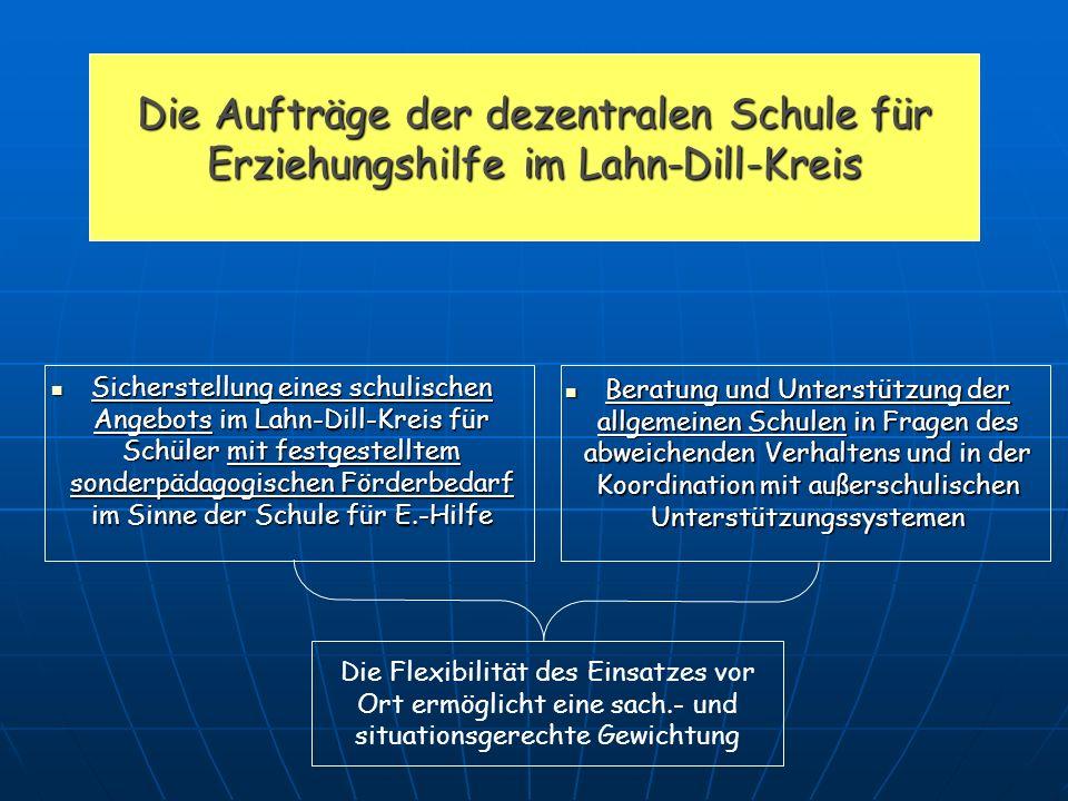 Die Aufträge der dezentralen Schule für Erziehungshilfe im Lahn-Dill-Kreis Die Flexibilität des Einsatzes vor Ort ermöglicht eine sach.- und situation