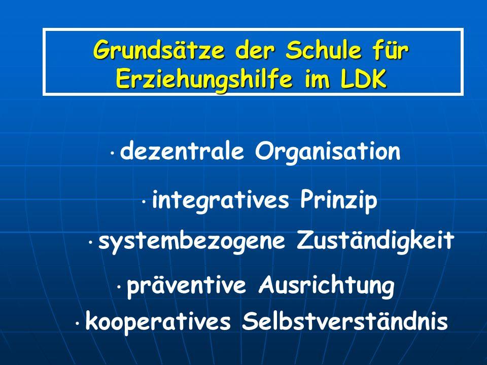 Grundsätze der Schule für Erziehungshilfe im LDK dezentrale Organisation integratives Prinzip systembezogene Zuständigkeit präventive Ausrichtung koop