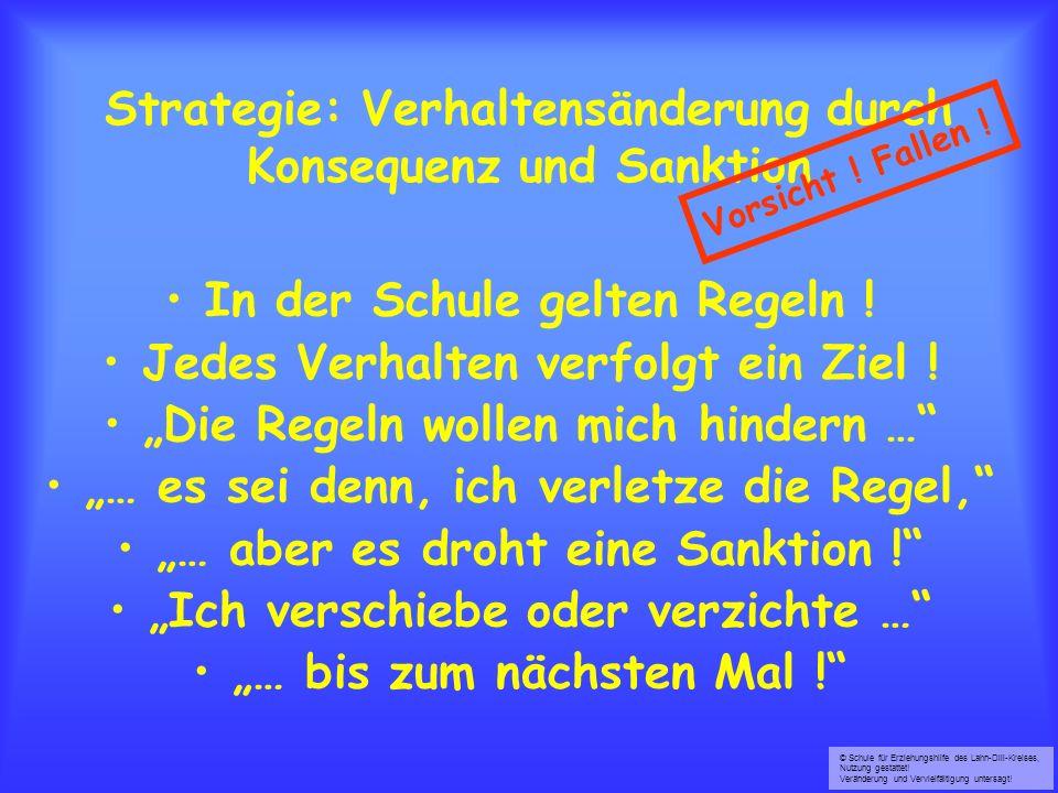 © Schule für Erziehungshilfe des Lahn-Dill-Kreises, Nutzung gestattet! Veränderung und Vervielfältigung untersagt! Strategie: Verhaltensänderung durch