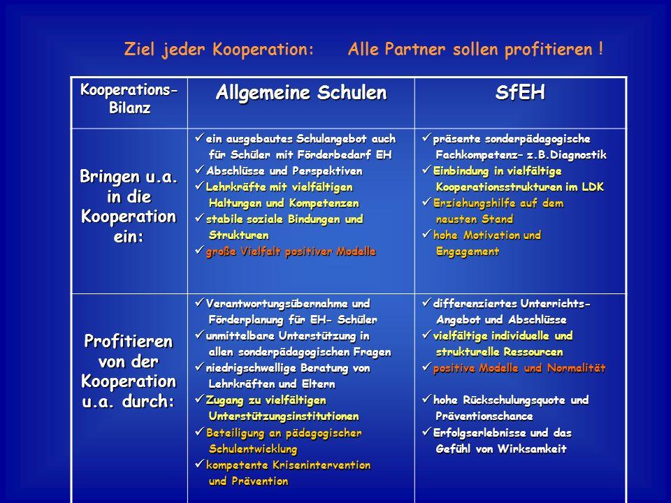 Kooperations- Bilanz Allgemeine Schulen SfEH Bringen u.a. in die Kooperation ein: ein ausgebautes Schulangebot auch ein ausgebautes Schulangebot auch