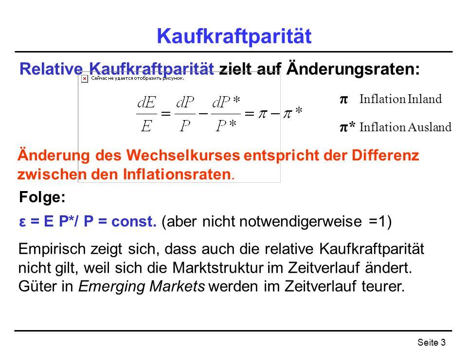 Seite 3 Kaufkraftparität Relative Kaufkraftparität zielt auf Änderungsraten: Änderung des Wechselkurses entspricht der Differenz zwischen den Inflatio
