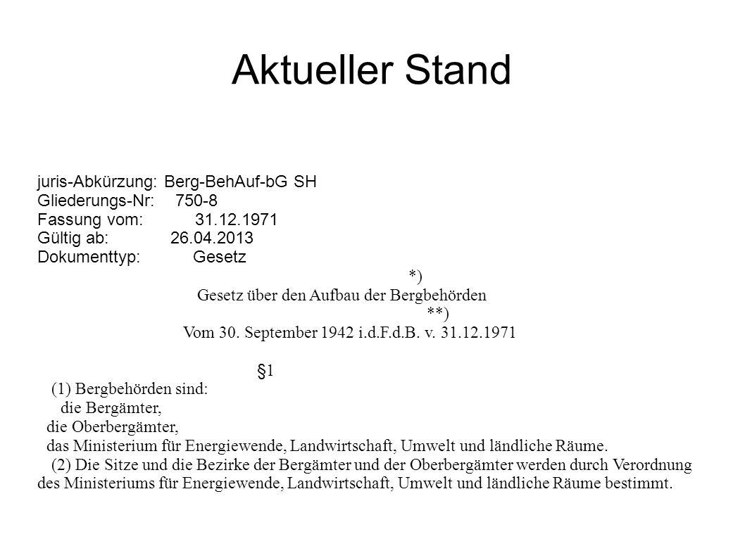 Aktueller Stand juris-Abkürzung: Berg-BehAuf-bG SH Gliederungs-Nr: 750-8 Fassung vom: 31.12.1971 Gültig ab: 26.04.2013 Dokumenttyp: Gesetz *) Gesetz über den Aufbau der Bergbehörden **) Vom 30.