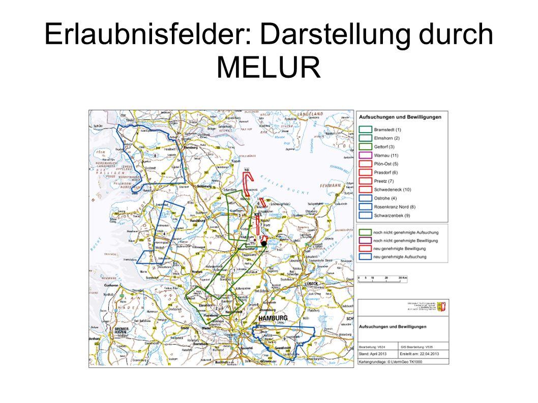 Erlaubnisfelder: Darstellung durch MELUR