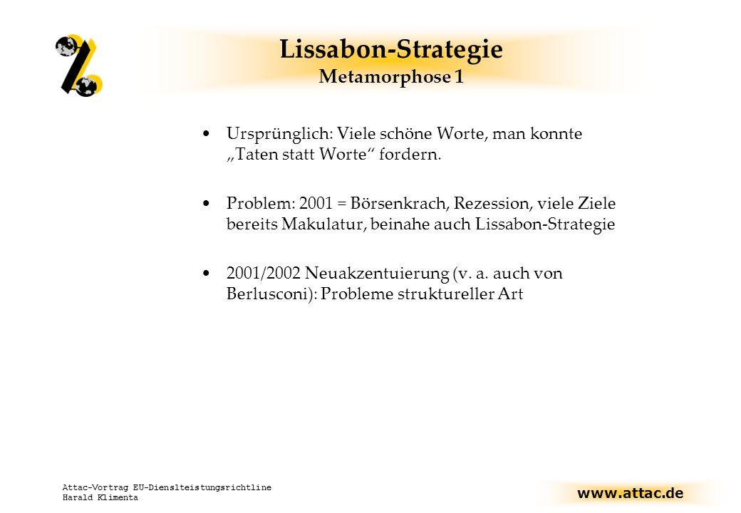 www.attac.de Attac-Vortrag EU-Dienslteistungsrichtline Harald Klimenta Lissabon-Strategie Metamorphose 1 Ursprünglich: Viele schöne Worte, man konnte Taten statt Worte fordern.