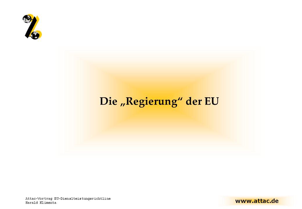 www.attac.de Attac-Vortrag EU-Dienslteistungsrichtline Harald Klimenta Die Regierung der EU