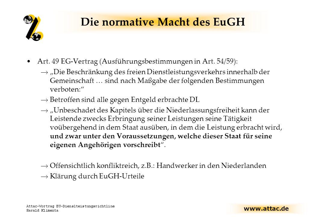 www.attac.de Attac-Vortrag EU-Dienslteistungsrichtline Harald Klimenta Art.