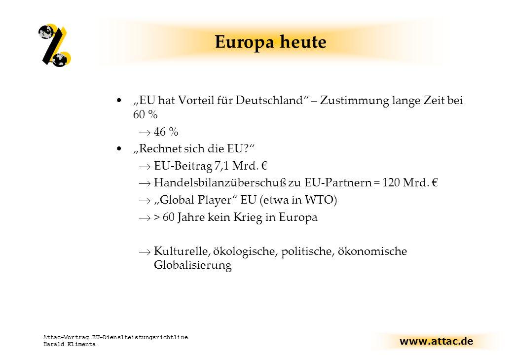 www.attac.de Attac-Vortrag EU-Dienslteistungsrichtline Harald Klimenta Europa heute Zukunftsszenarien Optimierung des Wirtschaftsraumes Einheitliche Märkte für Dienstleistungen, weniger staatliche Regulierungen, mindestens 70 % aller Menschen im erwerbsfähigen Alter sollen einer Erwerbsarbeit nachgehen.