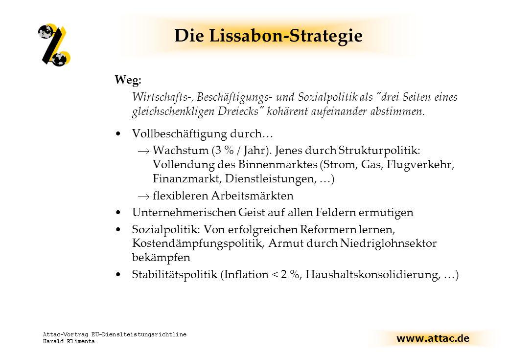 www.attac.de Attac-Vortrag EU-Dienslteistungsrichtline Harald Klimenta Die Lissabon-Strategie Evaluation: Wirkungsweise der Strategie durch Offene Koordinierung wirkt als Leitbild nicht-anpassungswillige Regierungen werden an Pranger gestellt Herstellung von Operationalisierbarkeit (festgelegte Beschäftigungsquoten, Forschungsausgaben, u.v.a.m… Strukturindikatoren) Berichte jedes Frühjahr beim Europäischen Rat (EU-Kommission erstellt Synthesebericht)