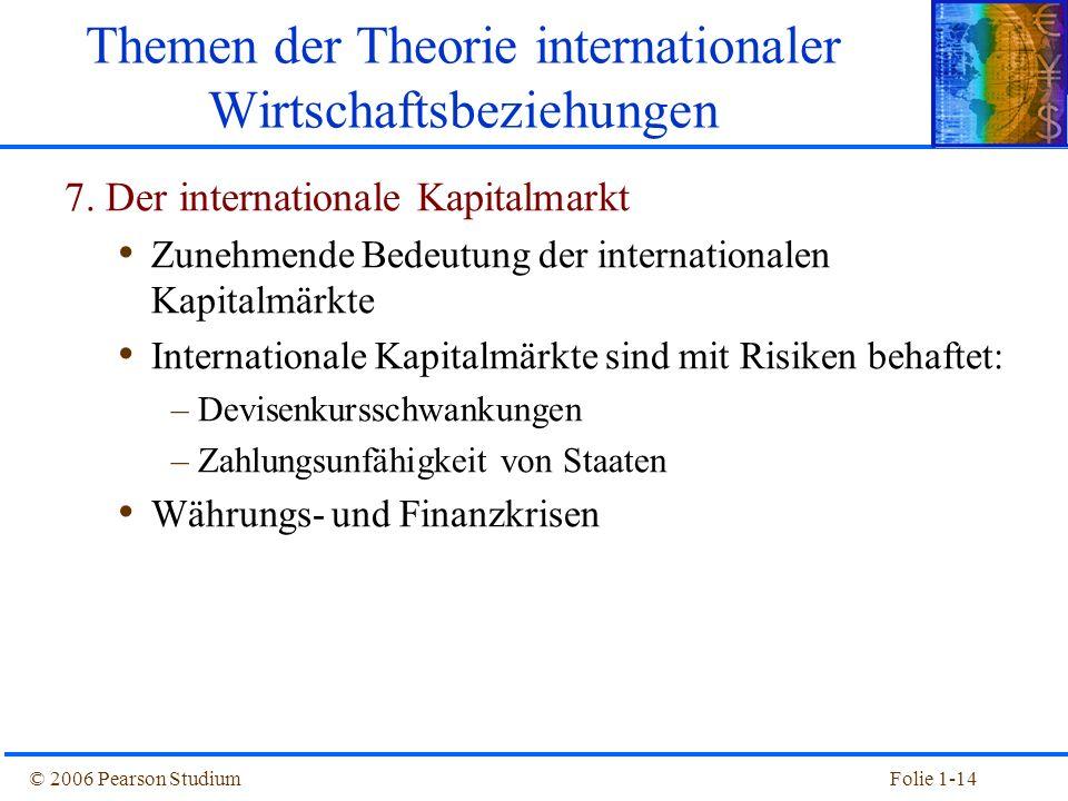 © 2006 Pearson StudiumFolie 1-14 Themen der Theorie internationaler Wirtschaftsbeziehungen 7. Der internationale Kapitalmarkt Zunehmende Bedeutung der