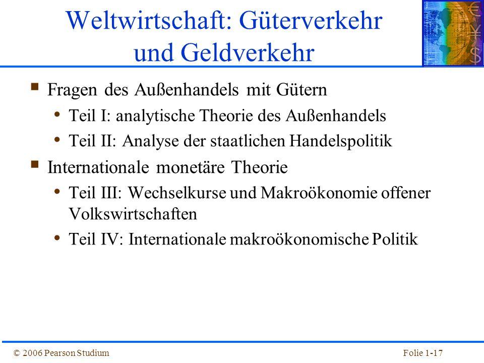 © 2006 Pearson StudiumFolie 1-17 Fragen des Außenhandels mit Gütern Teil I: analytische Theorie des Außenhandels Teil II: Analyse der staatlichen Hand