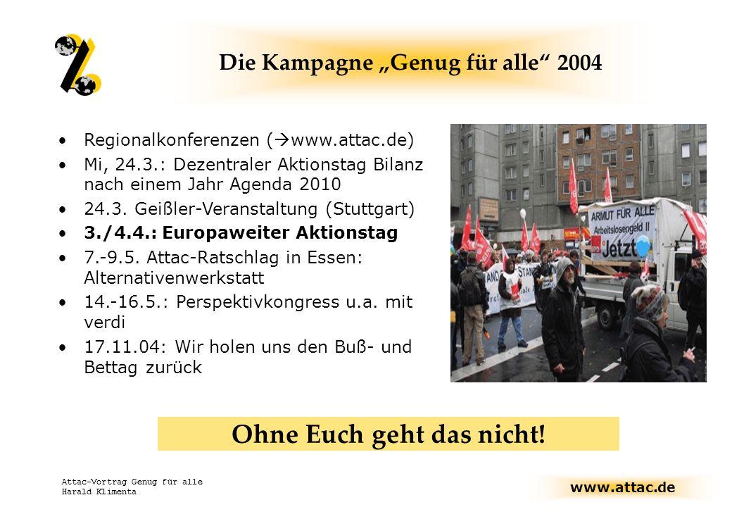 www.attac.de Attac-Vortrag Genug für alle Harald Klimenta Die Kampagne Genug für alle 2004 Regionalkonferenzen ( www.attac.de) Mi, 24.3.: Dezentraler