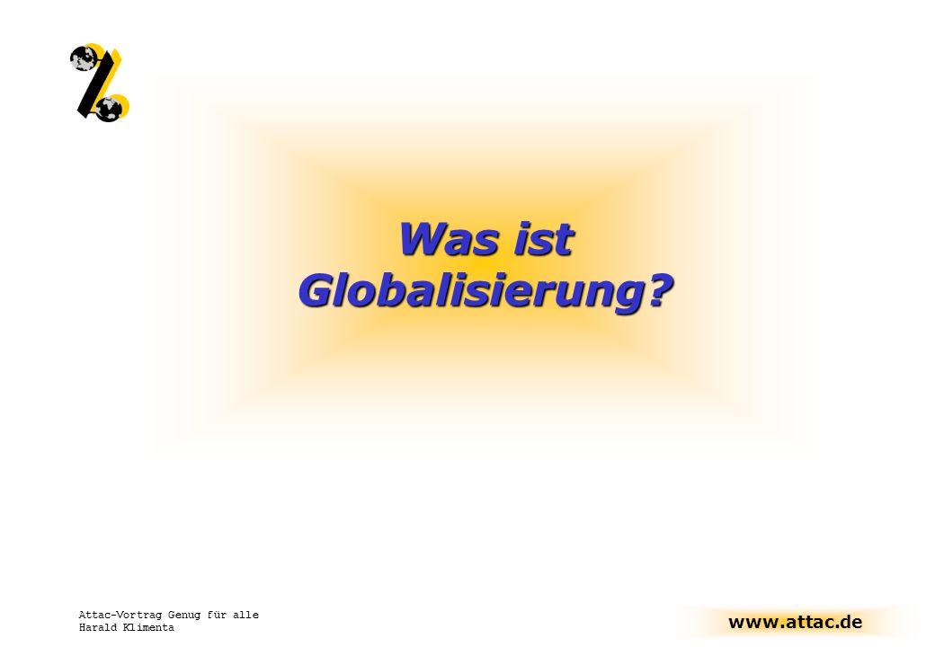 www.attac.de Attac-Vortrag Genug für alle Harald Klimenta Verschiedene Facetten der Globalisierung Kulturelle Globalisierung Finanzmärkte Welthandel Direktinvestitionen Ökologische Globalisierung Ökonomische Globalisierung Politische Globalisierung WarenmärkteKonzerne Globalisierung von Information Migration Wichtige Wechselwirkungen