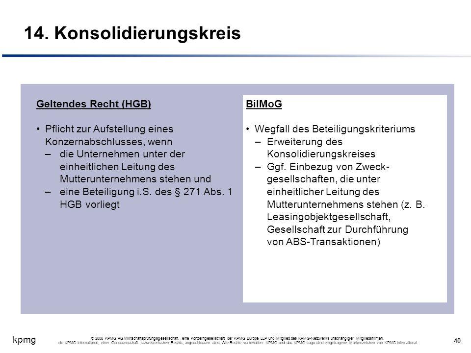 kpmg 40 © 2008 KPMG AG Wirtschaftsprüfungsgesellschaft, eine Konzerngesellschaft der KPMG Europe LLP und Mitglied des KPMG-Netzwerks unabhängiger Mitg