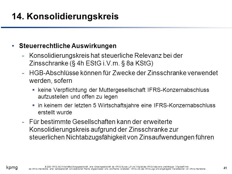 kpmg 41 © 2008 KPMG AG Wirtschaftsprüfungsgesellschaft, eine Konzerngesellschaft der KPMG Europe LLP und Mitglied des KPMG-Netzwerks unabhängiger Mitg