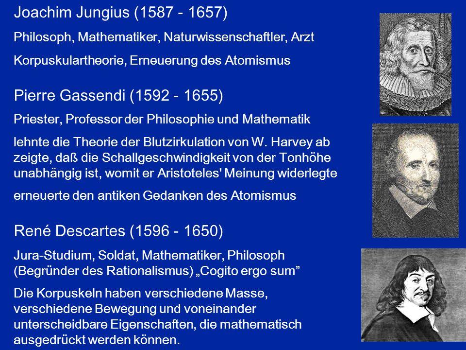 Pierre Gassendi (1592 - 1655) Priester, Professor der Philosophie und Mathematik lehnte die Theorie der Blutzirkulation von W. Harvey ab zeigte, daß d