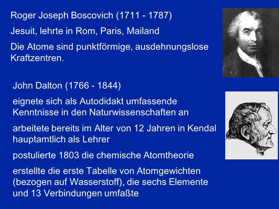 Roger Joseph Boscovich (1711 - 1787) Jesuit, lehrte in Rom, Paris, Mailand Die Atome sind punktförmige, ausdehnungslose Kraftzentren. John Dalton (176
