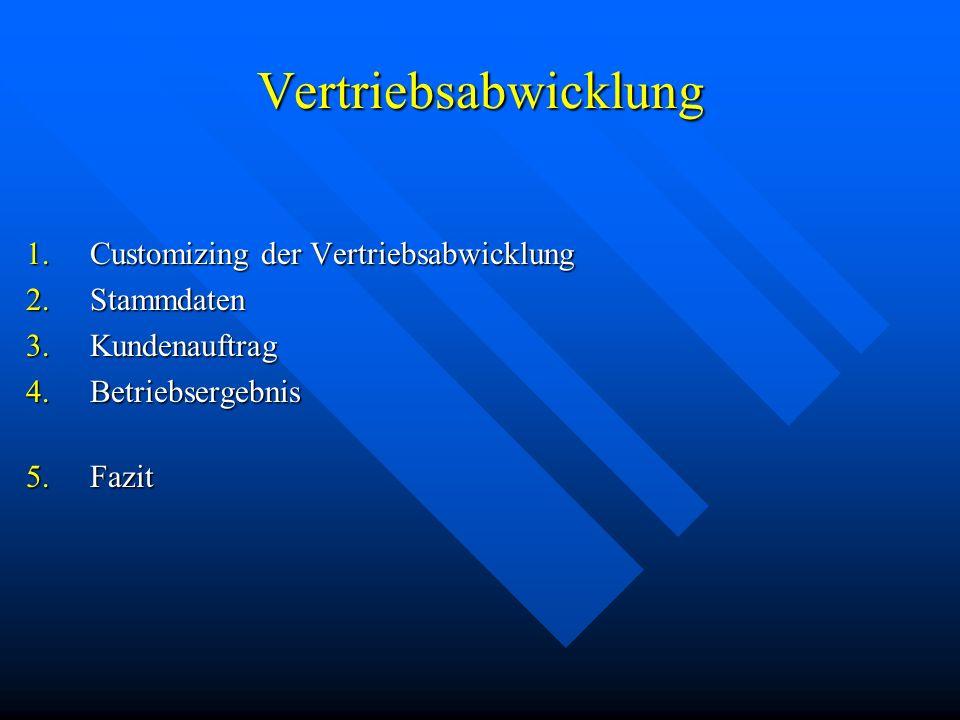 Vertriebsabwicklung 1.Customizing der Vertriebsabwicklung 2.Stammdaten 3.Kundenauftrag 4.Betriebsergebnis 5.Fazit