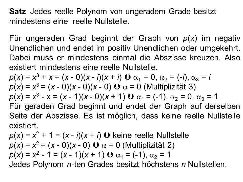 Satz Jedes nichtkonstante komplexe Polynom p(x) besitzt eine bis auf die Reihenfolge eindeutige Zerlegung p(x) = (x - 1 ) n 1 (x - 2 ) n 2 (x - r ) n