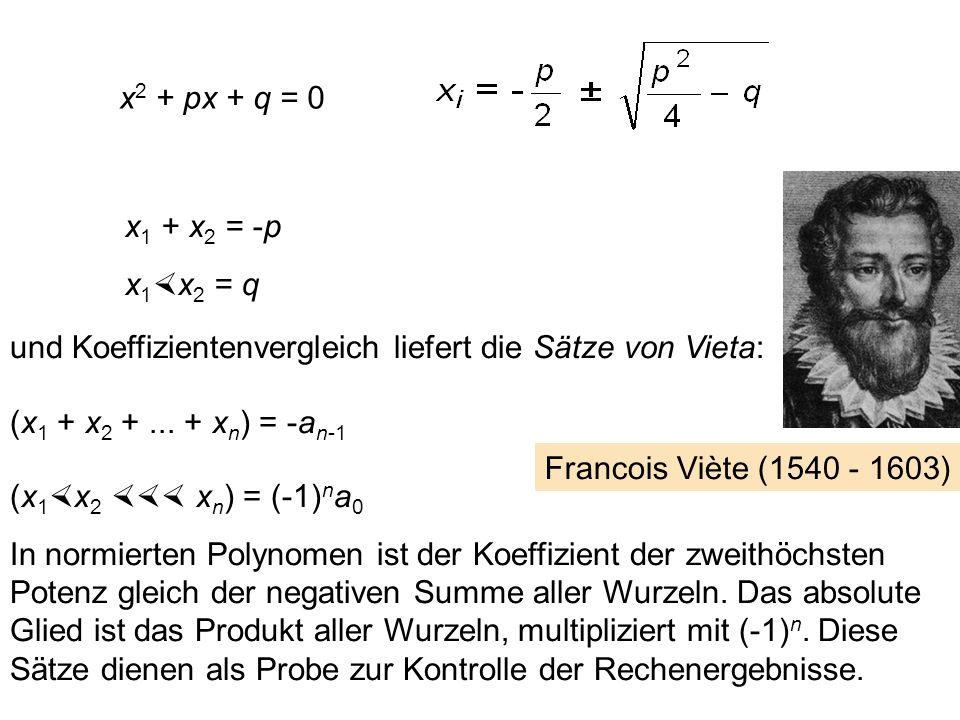 Wir betrachten nun wieder ein allgemeines Polynom, das allerdings in Normalform sein soll (d. h. a n = 1), mit den Wurzeln x i p(x) = a 0 + a 1 x + a