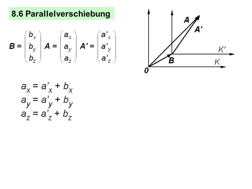 Das Spatprodukt (A B) C kombiniert Skalarprodukt und Kreuzprodukt. Volumen eines aus drei Vektoren gebildeten Spates oder Parallelepipeds. Von sechs P