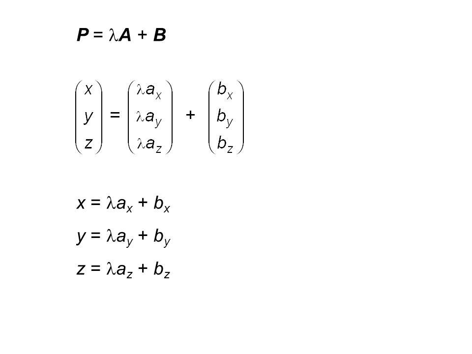 G = { P | P = A + B mit } Durch zwei Punkte des 3 verläuft genau eine Gerade. G' = { P | P = (A - B) + B mit }