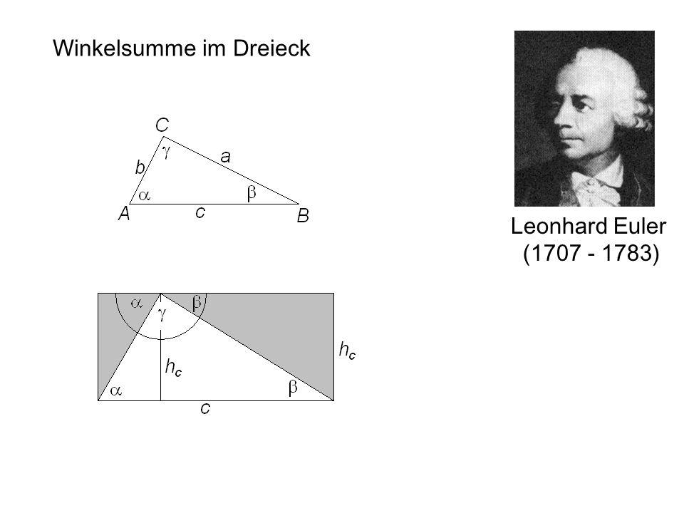 Leonhard Euler (1707 - 1783) Winkelsumme im Dreieck
