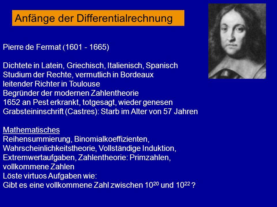 Pierre de Fermat 1601 - 1665) Dichtete in Latein, Griechisch, Italienisch, Spanisch Studium der Rechte, vermutlich in Bordeaux leitender Richter in To