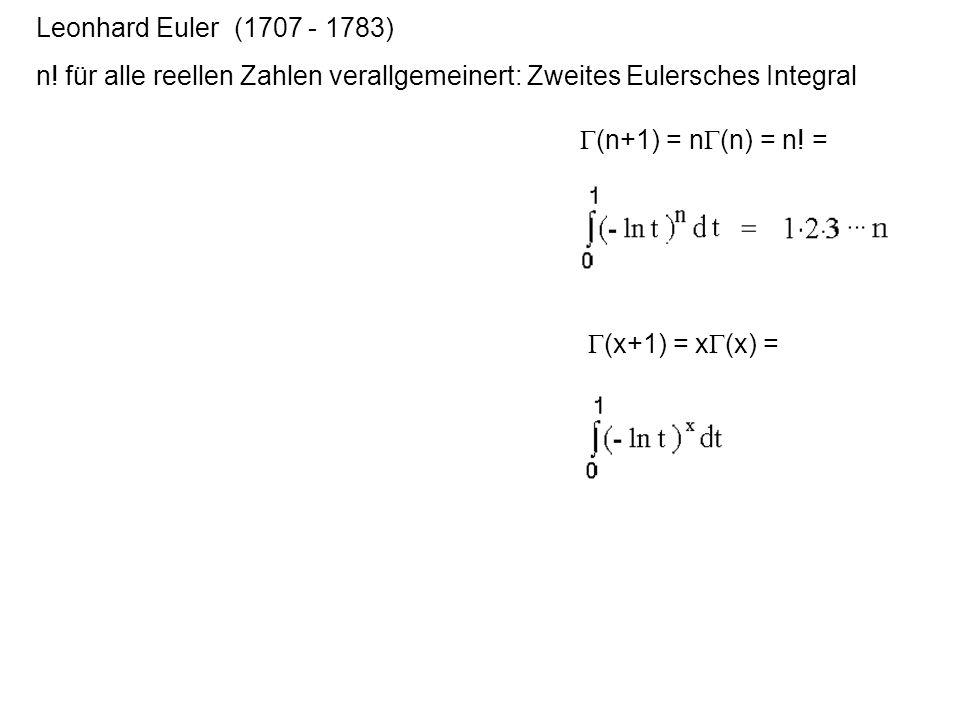 Leonhard Euler (1707 - 1783) n! für alle reellen Zahlen verallgemeinert: Zweites Eulersches Integral (n+1) = n (n) = n! = (x+1) = x (x) =