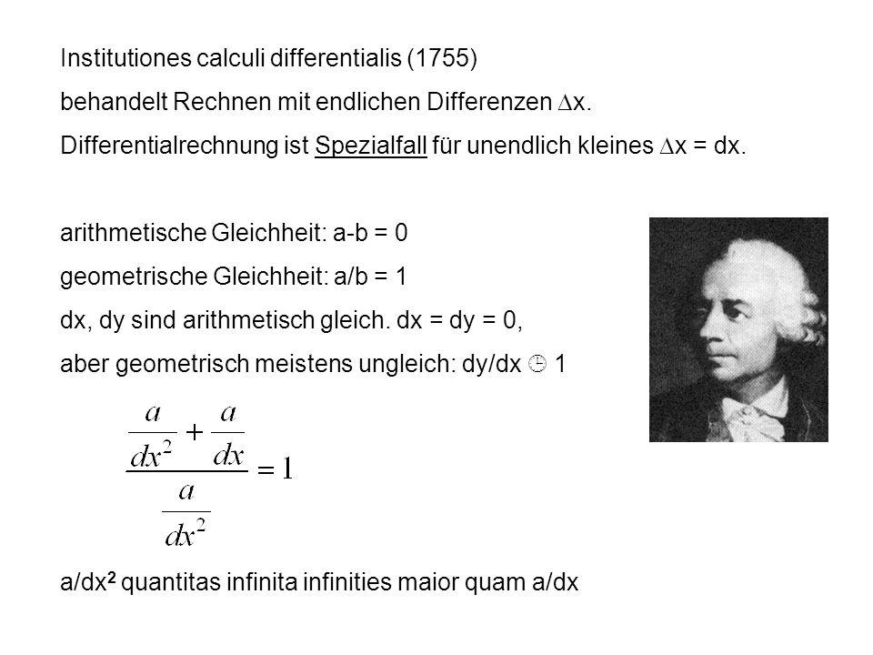 Institutiones calculi differentialis (1755) behandelt Rechnen mit endlichen Differenzen x. Differentialrechnung ist Spezialfall für unendlich kleines
