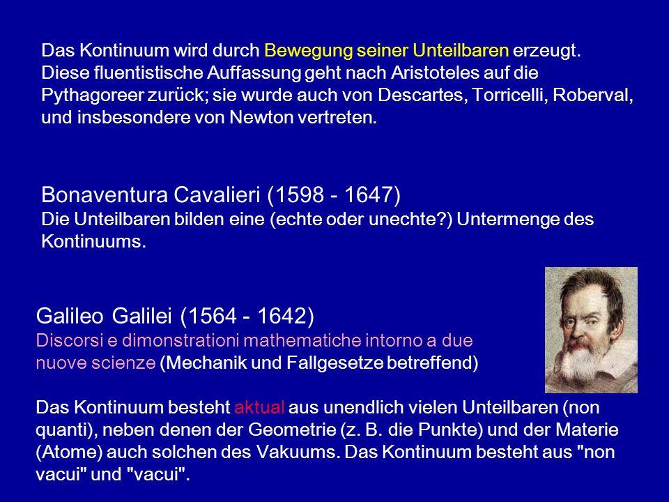 Galileo Galilei (1564 - 1642) Discorsi e dimonstrationi mathematiche intorno a due nuove scienze (Mechanik und Fallgesetze betreffend) Das Kontinuum b