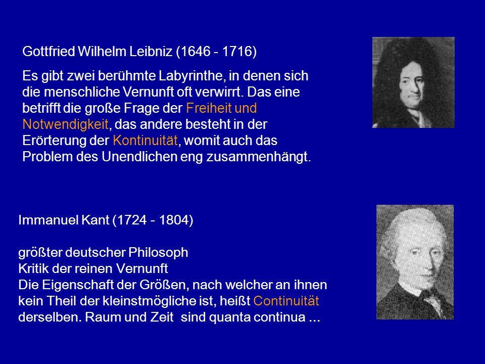Immanuel Kant (1724 - 1804) größter deutscher Philosoph Kritik der reinen Vernunft Die Eigenschaft der Größen, nach welcher an ihnen kein Theil der kl