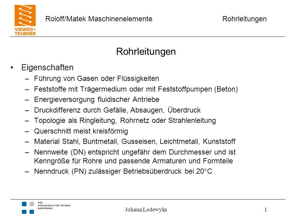 Rohrleitungen Roloff/Matek Maschinenelemente Johann Lodewyks12 Flanschverbindungen Eigenschaften –lösbare Verbindung –Rohre mit unterschiedlichem Material –statische Dichtstelle, elastische Dichtelemente –Lochzahl durch vier teilbar, symmetrisch verteilt –Flansche mit glatter Dichtfläche Bild 18-08 GussflanschVorschweiss- flansch Gewinde- flansch Löt- oder Schweiss- flansch Bördel- flansch