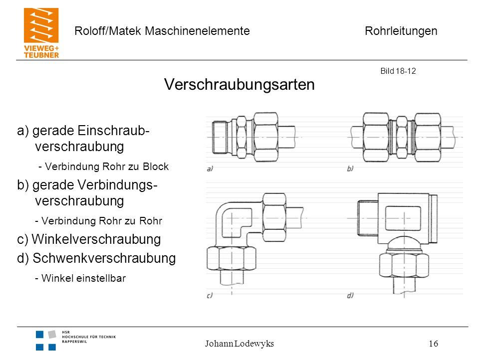 Rohrleitungen Roloff/Matek Maschinenelemente Johann Lodewyks16 Verschraubungsarten a) gerade Einschraub- verschraubung - Verbindung Rohr zu Block b) g