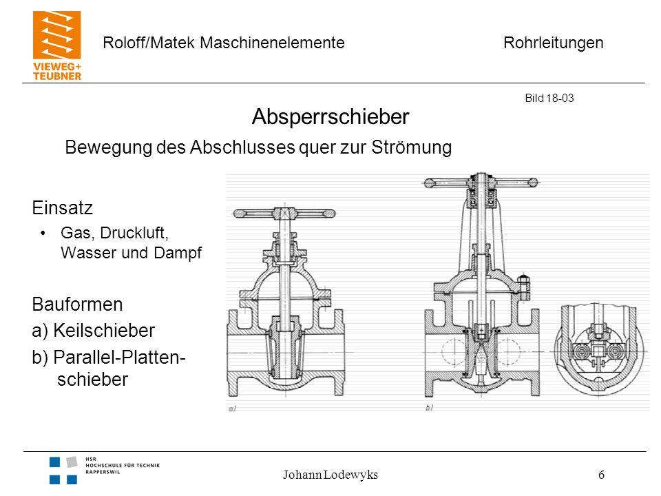 Rohrleitungen Roloff/Matek Maschinenelemente Johann Lodewyks7 Hähne Eigenschaften –geringer Bauraum –schnell schaltend –geringer Widerstand Bild 18-04 Drehung des Abschlusses um die Längsachse quer zur Strömung, Abschluss geöffnet durchströmt Bauarten a) Durchgangshahn b) Schmierhahn c) Kugelhahn 1) Schmier- kammer 2) Schmier- spindel 3) Schmier- nuten 4) Anschlag