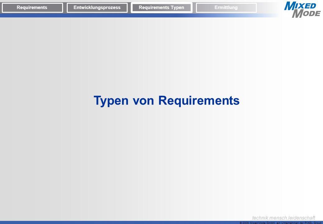 © 2009 Mixed Mode GmbH, ein Unternehmen der PIXEL Group technik.mensch.leidenschaft Typen von Requirements RequirementsEntwicklungsprozess Requirement