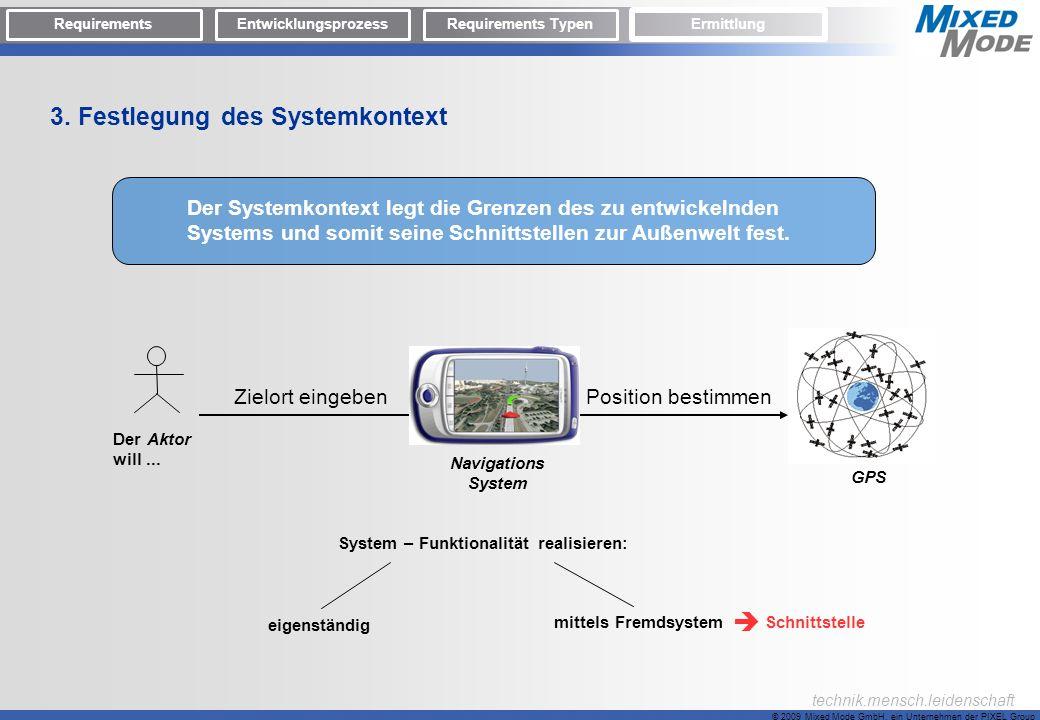 © 2009 Mixed Mode GmbH, ein Unternehmen der PIXEL Group technik.mensch.leidenschaft 3. Festlegung des Systemkontext Der Systemkontext legt die Grenzen
