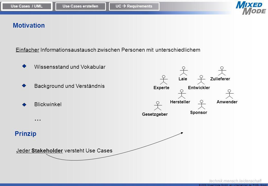 © 2009 Mixed Mode GmbH, ein Unternehmen der PIXEL Group technik.mensch.leidenschaft Einfacher Informationsaustausch zwischen Personen mit unterschiedl