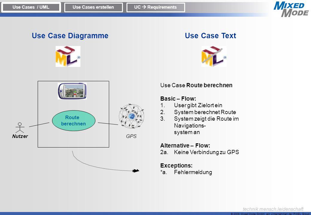 © 2009 Mixed Mode GmbH, ein Unternehmen der PIXEL Group technik.mensch.leidenschaft Use Case Route berechnen Basic – Flow: 1.User gibt Zielort ein 2.S