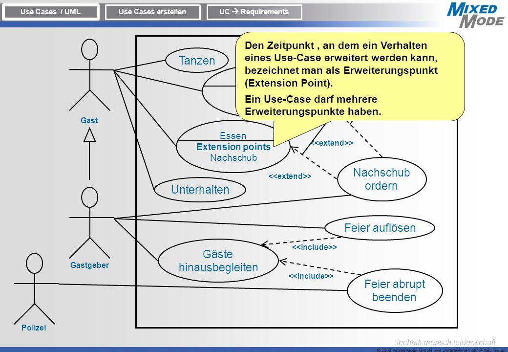 © 2009 Mixed Mode GmbH, ein Unternehmen der PIXEL Group technik.mensch.leidenschaft Use Cases / UML Use Cases erstellenUC Requirements Tanzen Trinken