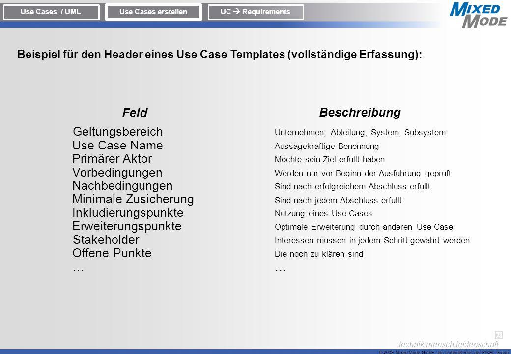 © 2009 Mixed Mode GmbH, ein Unternehmen der PIXEL Group technik.mensch.leidenschaft Beispiel für den Header eines Use Case Templates (vollständige Erf