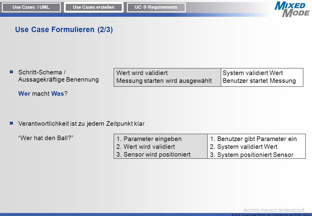 © 2009 Mixed Mode GmbH, ein Unternehmen der PIXEL Group technik.mensch.leidenschaft Schritt-Schema / Aussagekräftige Benennung Wer macht Was? Verantwo