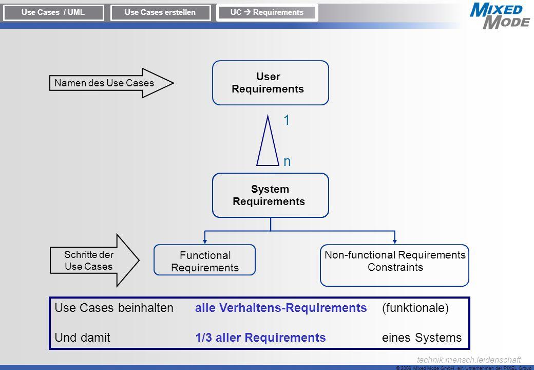 © 2009 Mixed Mode GmbH, ein Unternehmen der PIXEL Group technik.mensch.leidenschaft Use Cases / UMLUse Cases erstellen UC Requirements System Requirem