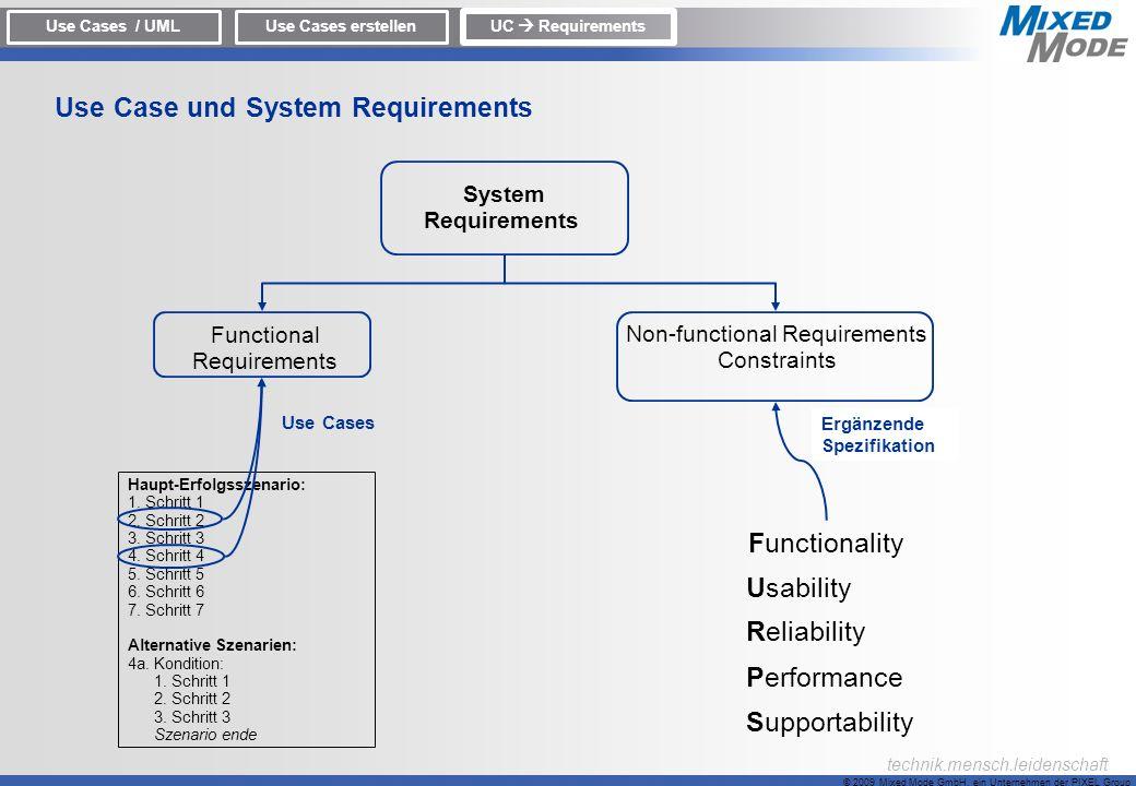 © 2009 Mixed Mode GmbH, ein Unternehmen der PIXEL Group technik.mensch.leidenschaft System Requirements Functional Requirements Non-functional Require