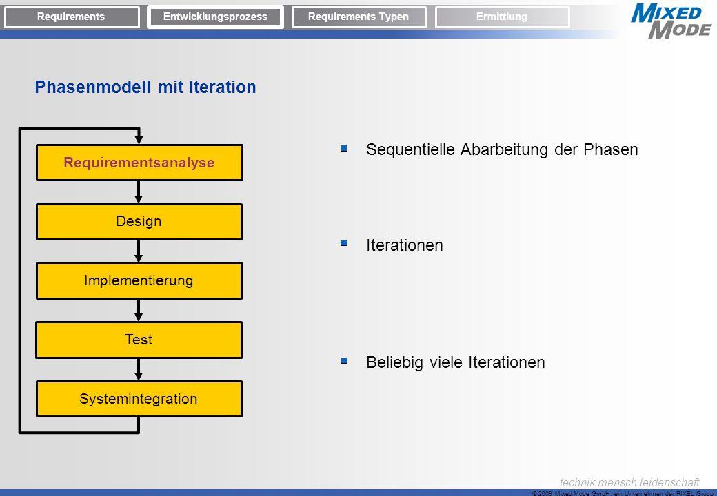 © 2009 Mixed Mode GmbH, ein Unternehmen der PIXEL Group technik.mensch.leidenschaft Phasenmodell mit Iteration Sequentielle Abarbeitung der Phasen Ite