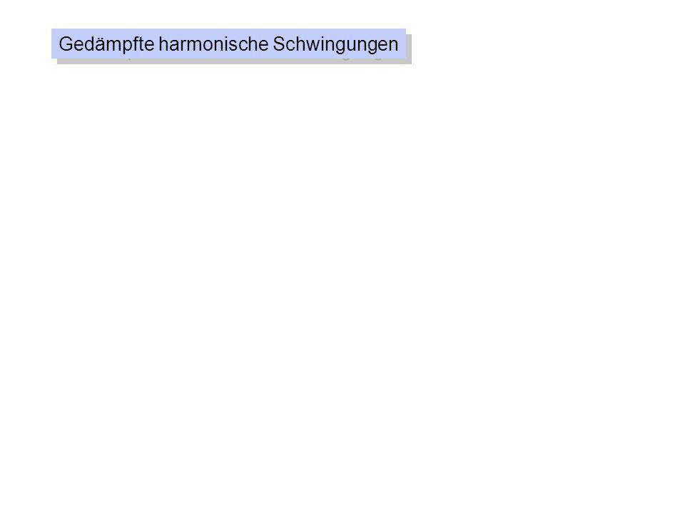 Gedämpfte harmonische Schwingungen F R = -b ds dt = v b = Dämpfungskonstante F = -Ds - b ds dt D m = 0 = Kreisfrequenz der ungedämpften Schwingung = = Abklingkonstante b 2m d2sd2s dt 2 + 2 + 0 2 s = 0 ds dt s(t) = e - t s cos( d t- ) ^ 0 2 e - t s cos d t ^ -2 2 e - t s cos d t - 2 d e - t s sin d t ^ ^ mit d = 0 2 - 2