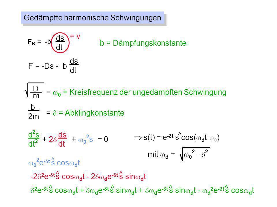 Gedämpfte harmonische Schwingungen F R = -b ds dt = v b = Dämpfungskonstante F = -Ds - b ds dt D m = 0 = Kreisfrequenz der ungedämpften Schwingung = =
